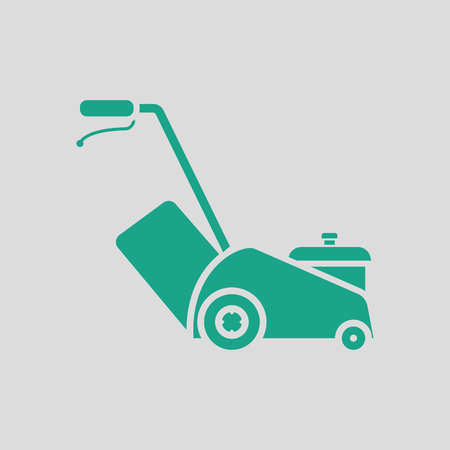 Lawn mower icon. Gray background with green. Vector illustration.