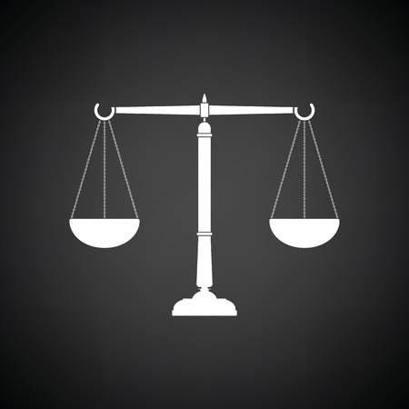 acquittal: Justice scale icon. Black background with white. Vector illustration.
