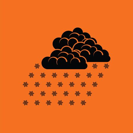 storm clouds: Snowfall icon. Orange background with black. Vector illustration.