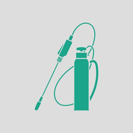 Garden sprayer icon. Gray background with green. Vector illustration.