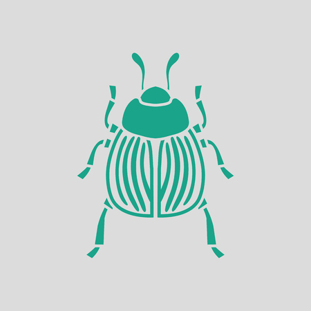 chitin: Colorado beetle icon. Gray background with green. Vector illustration.