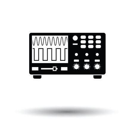 oscilloscope: Oscilloscope icon. White background with shadow design. Vector illustration.