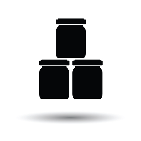 puree: Baby glass jars icon. White background with shadow design. Vector illustration.