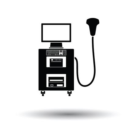 sonograma: Ultrasonido icono de la máquina de diagnóstico. Fondo blanco con el diseño de la sombra. Ilustración del vector. Vectores