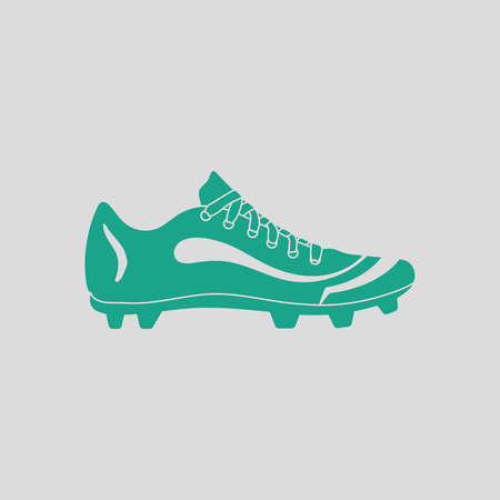 uniform green shoe: American football boot icon. Gray background with green. Vector illustration.