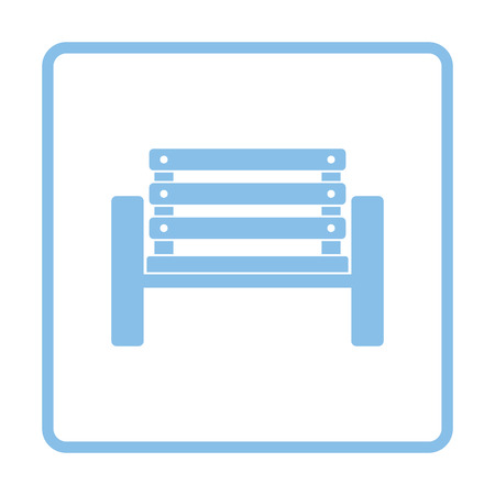 unoccupied: Tennis player bench icon. Blue frame design. Vector illustration.