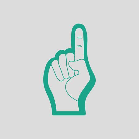 memorabilia: American football foam finger icon. Gray background with green. Vector illustration.