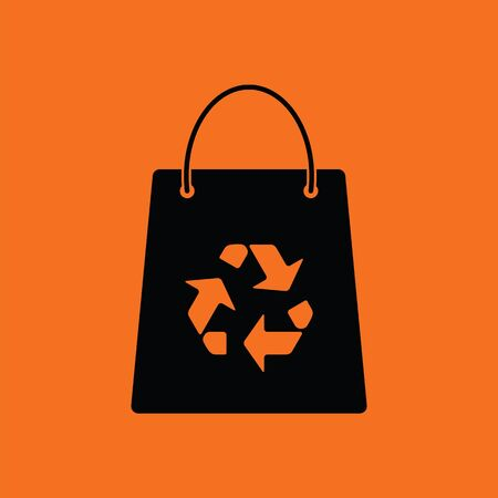 sign orange: Shopping bag with recycle sign icon. Orange background with black. Vector illustration.