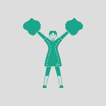 varsity: American football cheerleader girl icon. Gray background with green. Vector illustration.