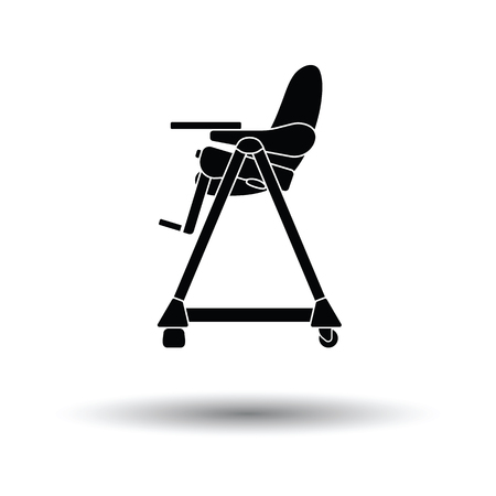 high chair: Baby high chair icon. White background with shadow design. Vector illustration.