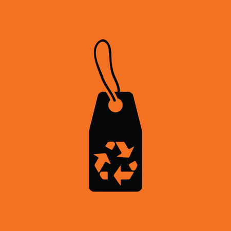 recycle sign: Tag and recycle sign icon. Orange background with black. Vector illustration.