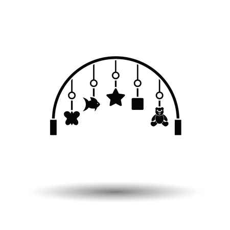 Baby arc with hanged toys icon. White background with shadow design. Vector illustration.