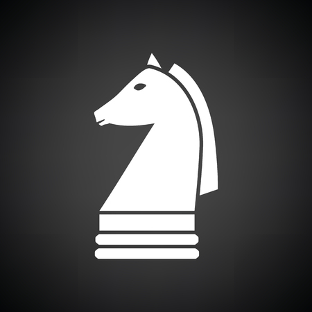 chess horse: Chess horse icon. Black background with white. Vector illustration.