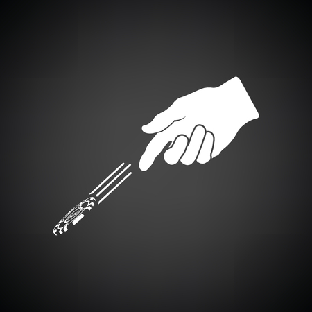 Hand throwing gamble chips icon. Black background with white. Vector illustration.