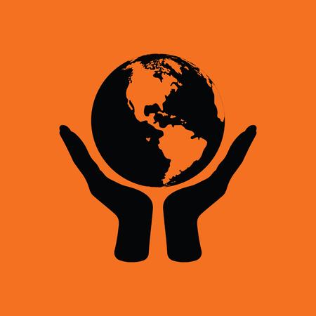 Hands holding planet icon. Orange background with black. Vector illustration.