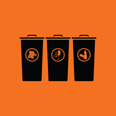 discard: Garbage containers with separated trash icon. Orange background with black. Vector illustration.