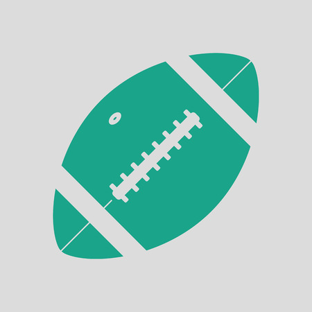 pigskin: American football ball icon. Gray background with green. Vector illustration. Illustration