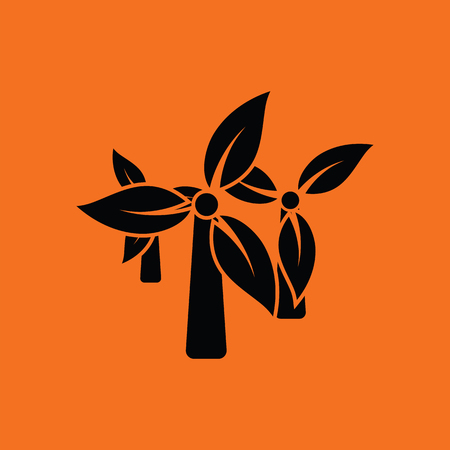 wind mill: Wind mill leaves in blades icon. Orange background with black. Vector illustration.