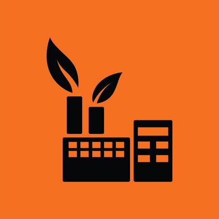 corporate buildings: Ecological industrial plant icon. Orange background with black. Vector illustration. Illustration