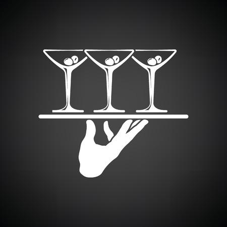 Kellner Hand hält Tablett mit Martini-Gläser-Symbol. Schwarzer Hintergrund mit weißen. Vektor-Illustration.