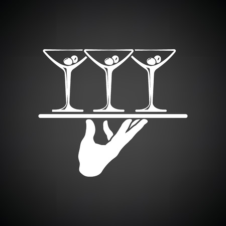 Waiter hand holding tray with martini glasses icon. Black background with white. Vector illustration.