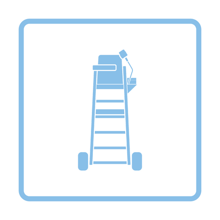 umpire: Tennis referee chair tower icon. Blue frame design. Vector illustration. Illustration