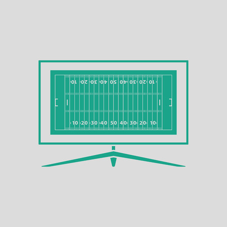 translating: American football tv icon. Gray background with green. Vector illustration.