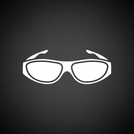 bifocals: Poker sunglasses icon. Black background with white. Vector illustration.