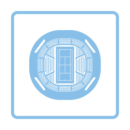 grandstand: Tennis stadium aerial view icon. Blue frame design. Vector illustration. Illustration