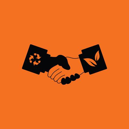 handshakes: Ecological handshakes icon. Orange background with black. Vector illustration.