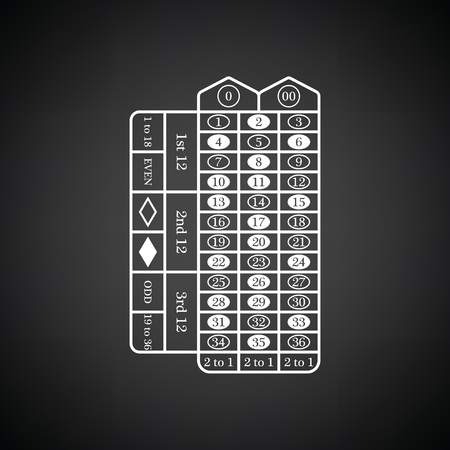 roulette online: Roulette table icon. Black background with white. Vector illustration.
