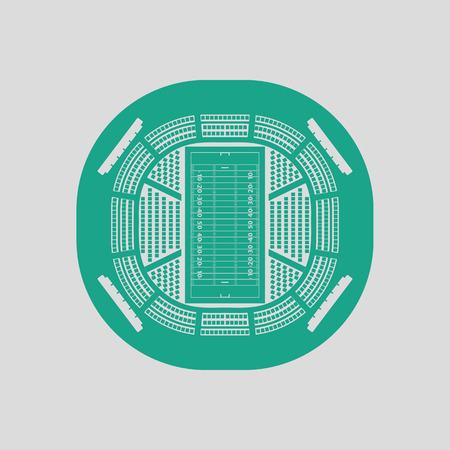 birdseye: American football stadium birds-eye view icon. Gray background with green. Vector illustration.