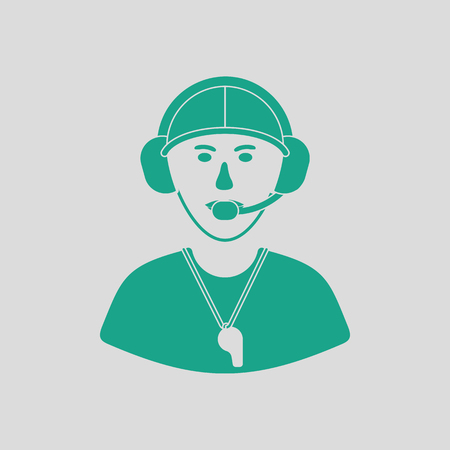 American football coach icoon. Grijze achtergrond met groen. Vector illustratie. Vector Illustratie