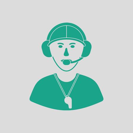 icône américaine entraîneur de football. fond gris avec le vert. Vector illustration. Vecteurs