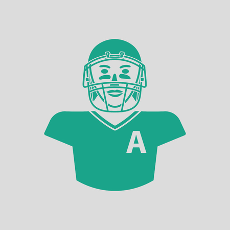 gridiron: American football player icon. Gray background with green. Vector illustration.
