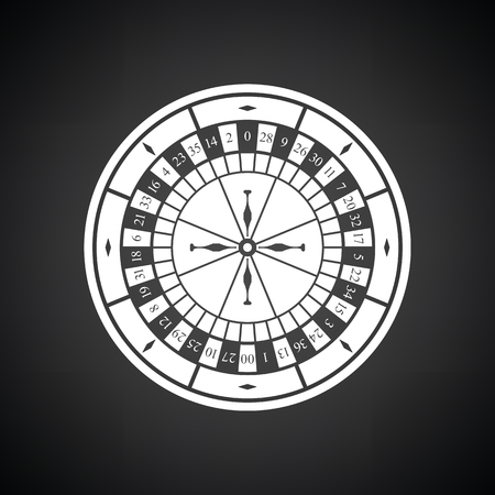 roulette online: Roulette wheel icon. Black background with white. Vector illustration.