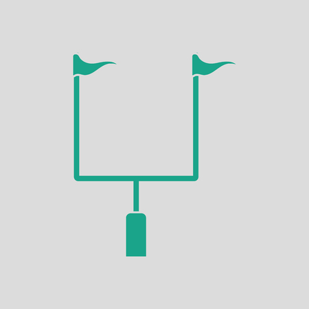 goal post': American football goal post icon. Gray background with green. Vector illustration.