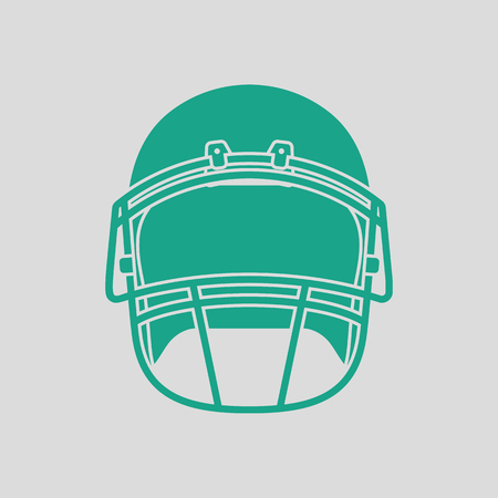 personalize: American football helmet icon. Gray background with green. Vector illustration.