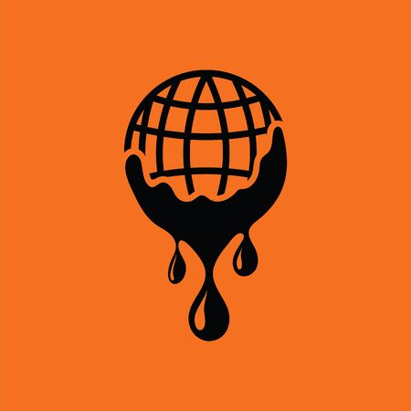 sea pollution: Planet flowing down water icon. Orange background with black. Vector illustration. Illustration