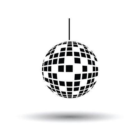 Party disco sphere icon. White background with shadow design. Vector illustration. Illustration