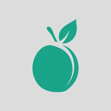 drupe: Peach icon. Gray background with green. Vector illustration.