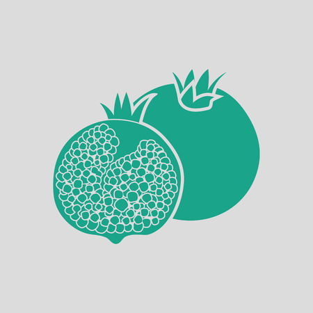 summer diet: Pomegranate icon. Gray background with green. Vector illustration. Illustration