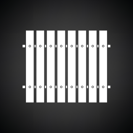 paling: Icon of Construction fence . Black background with white. Vector illustration.