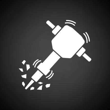 demolition: Icon of Construction jackhammer. Black background with white. Vector illustration.