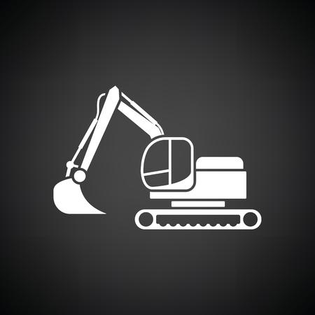 haulage: Icon of construction excavator. Black background with white. Vector illustration. Illustration