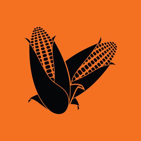 sweetcorn: Corn icon. Orange background with black. Vector illustration. Illustration