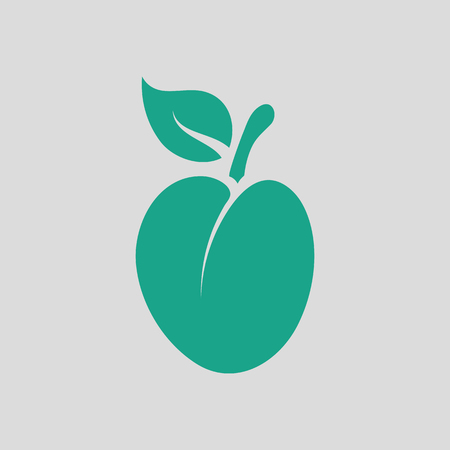 drupe: Plum icon. Gray background with green. Vector illustration.