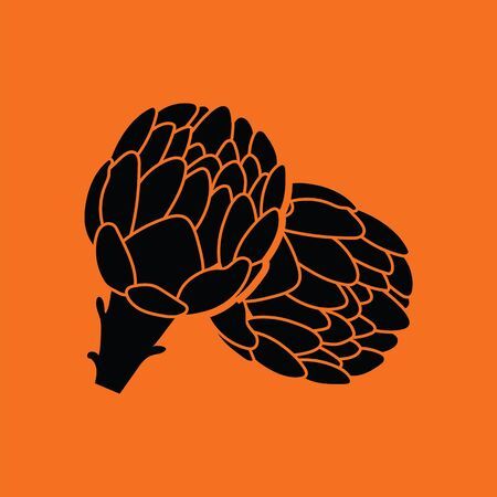 artichoke: Artichoke icon. Orange background with black. Vector illustration.