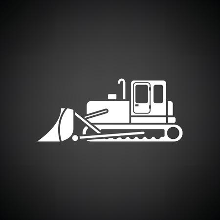 dredger: Icon of Construction bulldozer. Black background with white. Vector illustration.