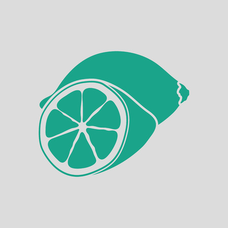 citrous: Lemon icon. Gray background with green. Vector illustration.